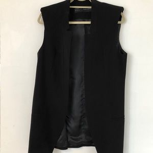 NWOT Zara black long vest w/ shoulder pads size L
